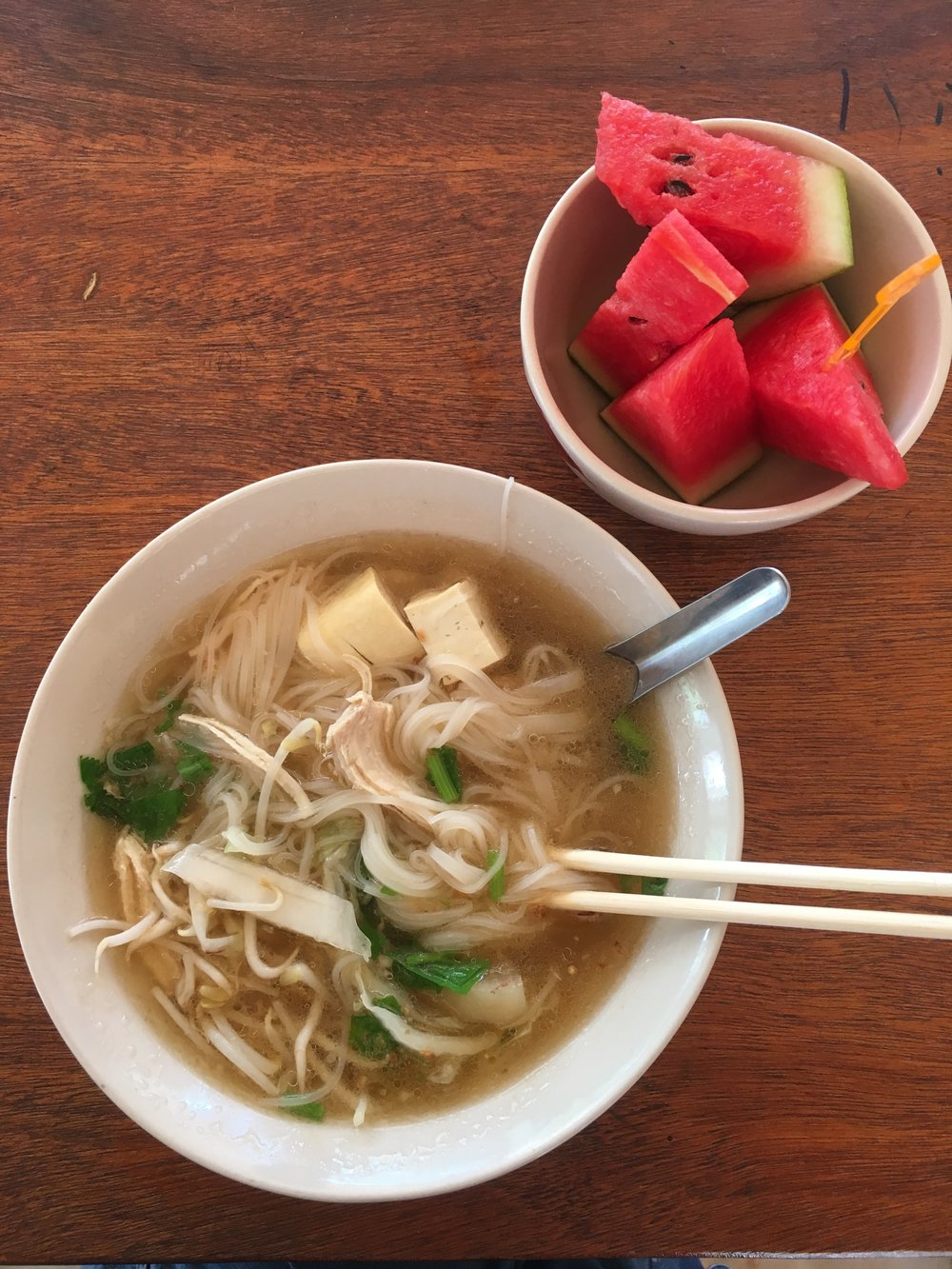 and lunch for us! Delicious homemade noodle soup.