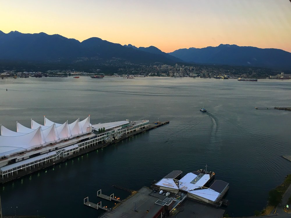 Canada Place from an observation deck at dusk.