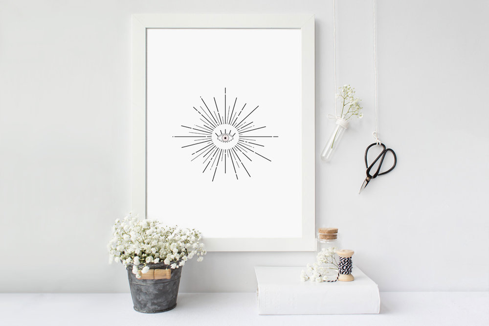 Black and White Evil Eye Print | Reux Design Co.