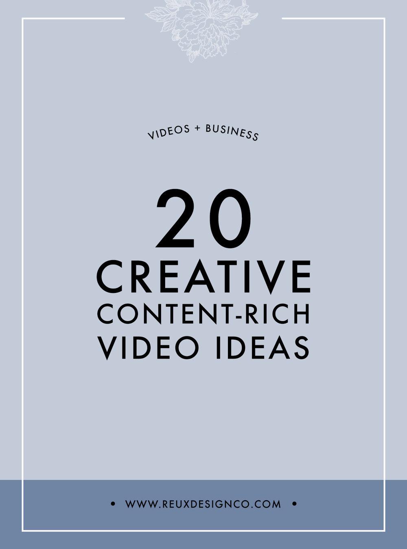 20 Creative, content rich, no fluff video ideas for your business | Reux Design Co.