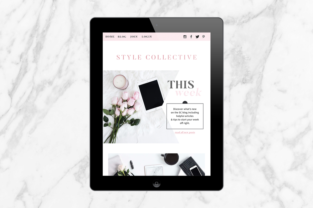 Email newsletter design mockup | pink, marble, gold | Reux Design Co.