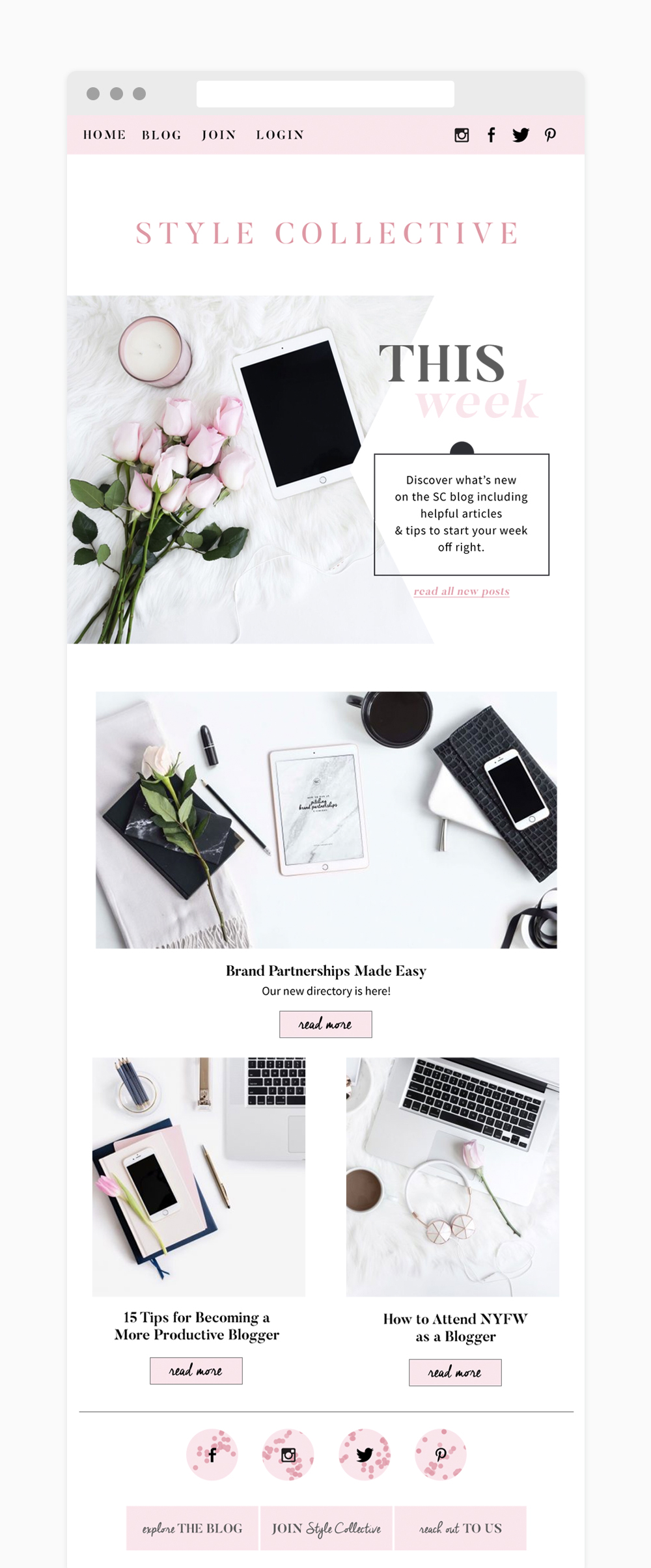 Stylish fashion and blogger newsletter design | Reux Design Co.