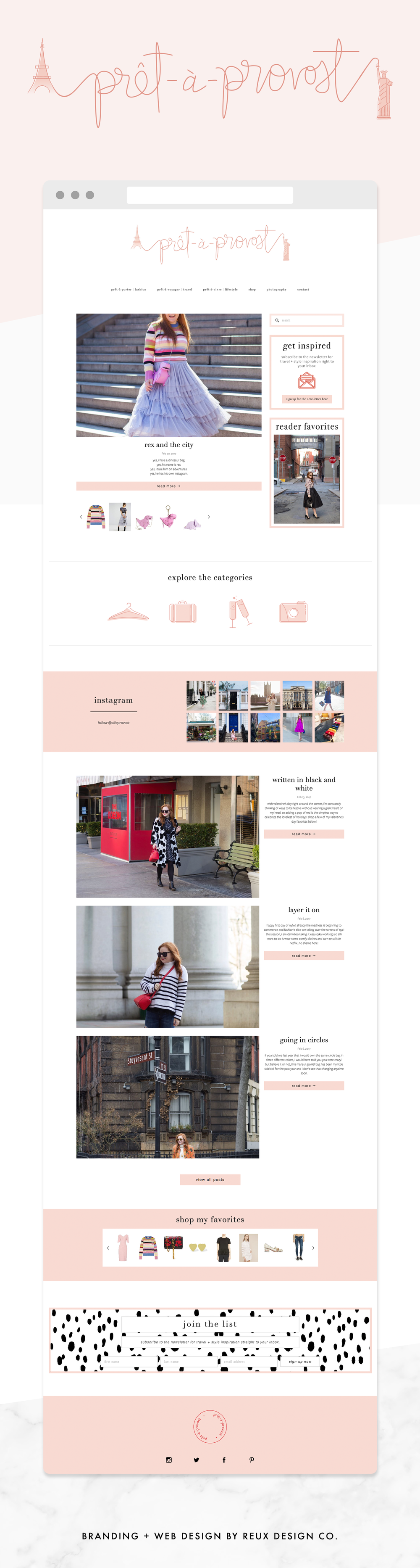 website design on squarespace for fashion and travel blogger | Reux Design Co.