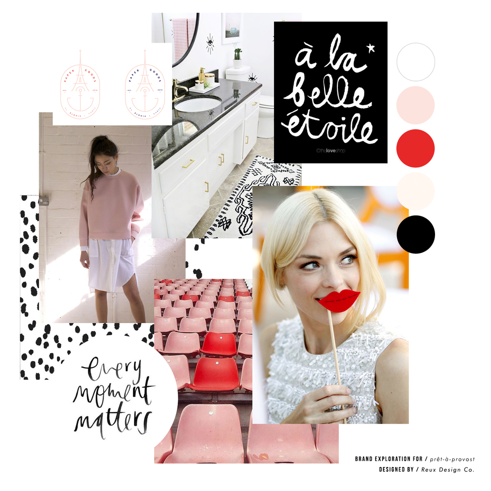 girly, sophisticated, stylish moodboard | brand design | Reix Design Co.