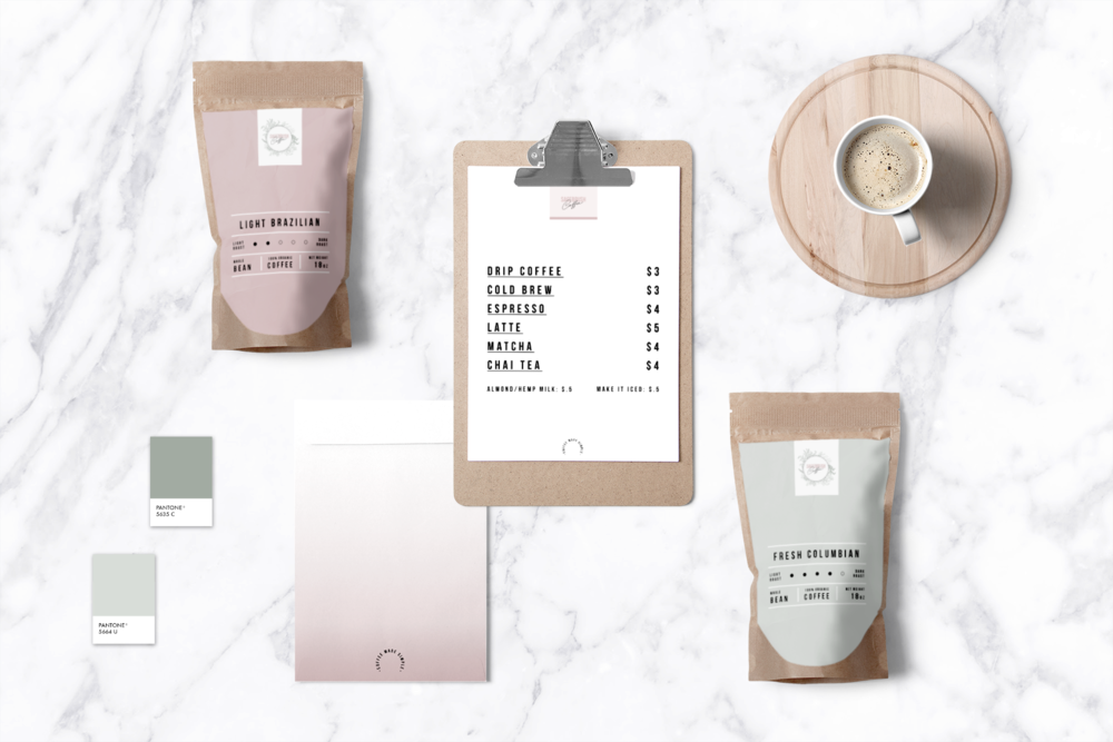 packaging design for coffee shop, chic minimal cool girl coffee | pink and green branding | Reux Design Co.