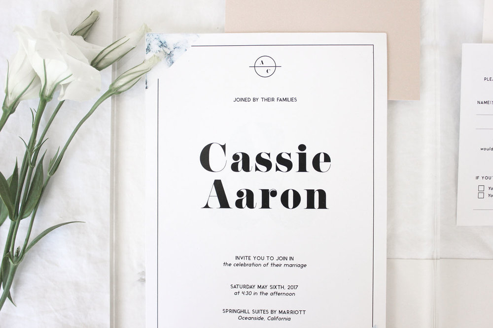 water inspired minimal wedding invite and rsvp | Reux Design Co.