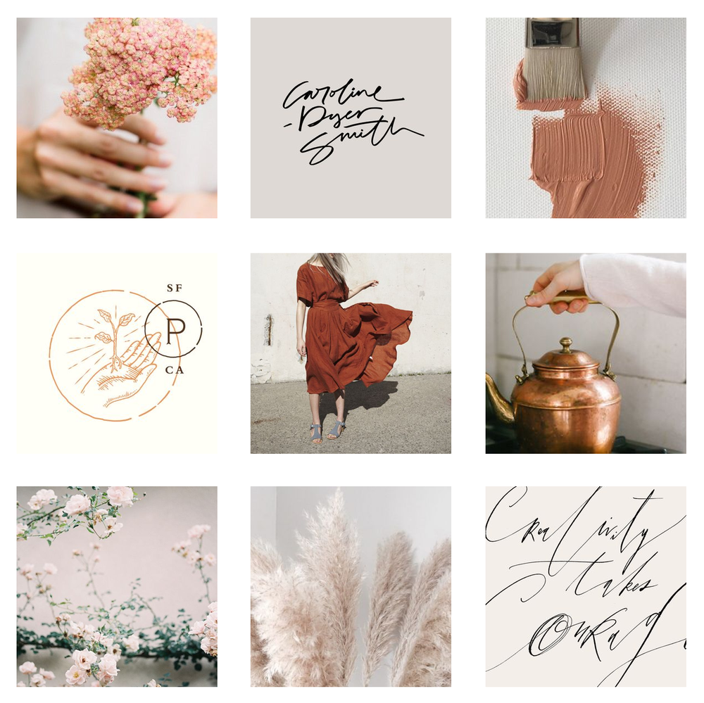 floristy moodboard for brand design, earthy, natural, authentic | Reux Design Co.