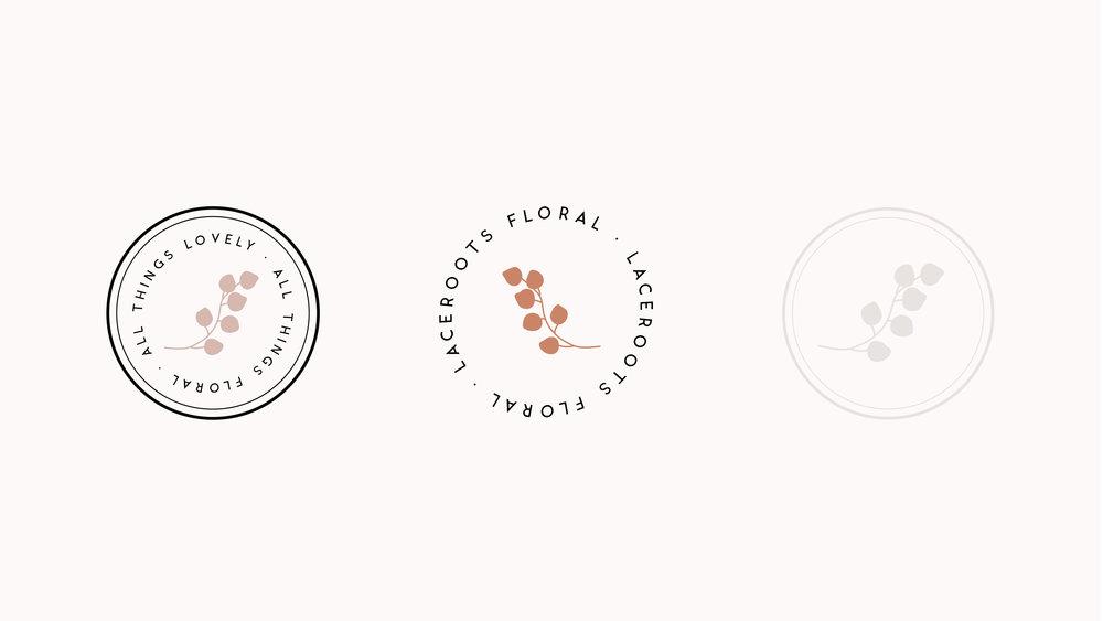 laceroots floral logo design, intimate wedding florist branding | Reux Design Co.