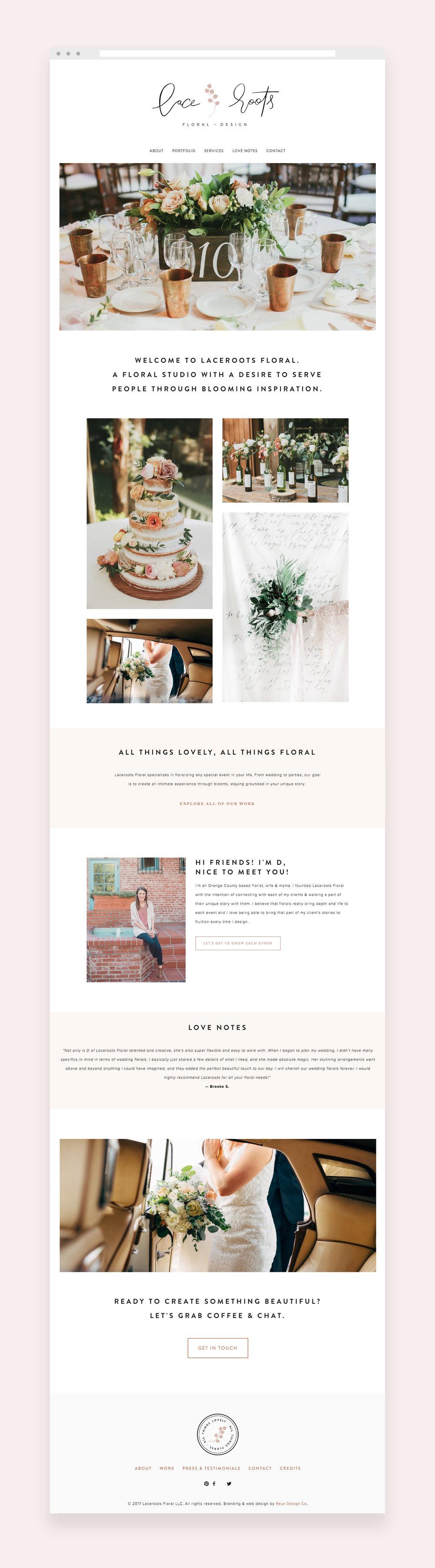 Laceroots Floral website design on squarespace | Reux Design Co.