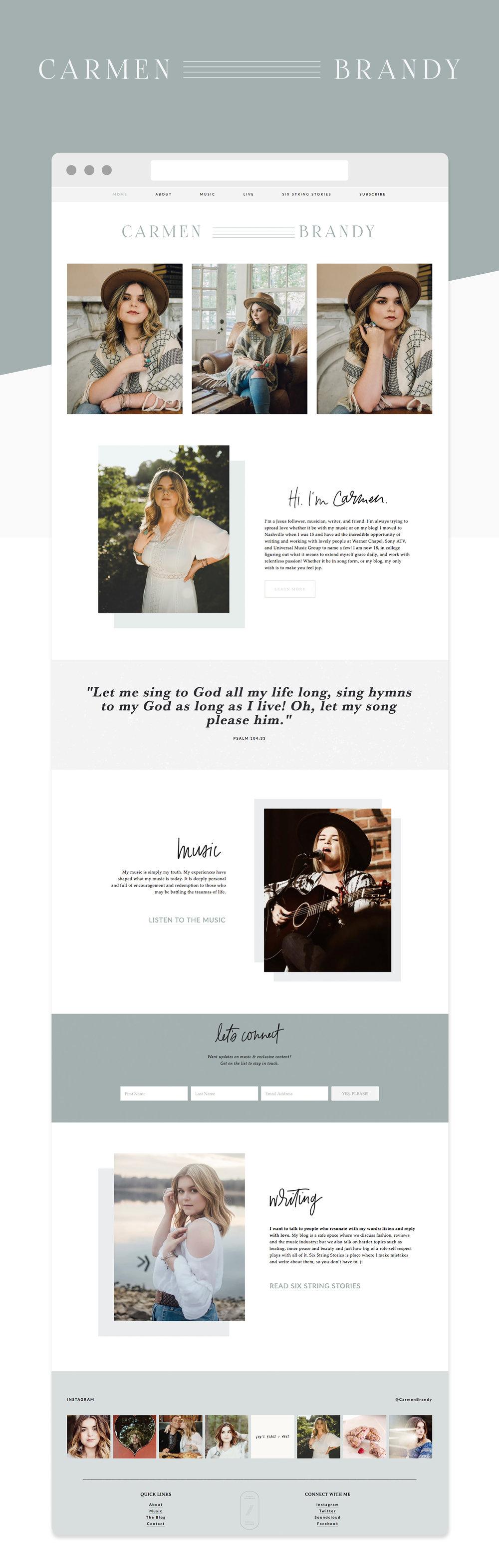 Carmen Brandy Website Design | Reux Design Co.