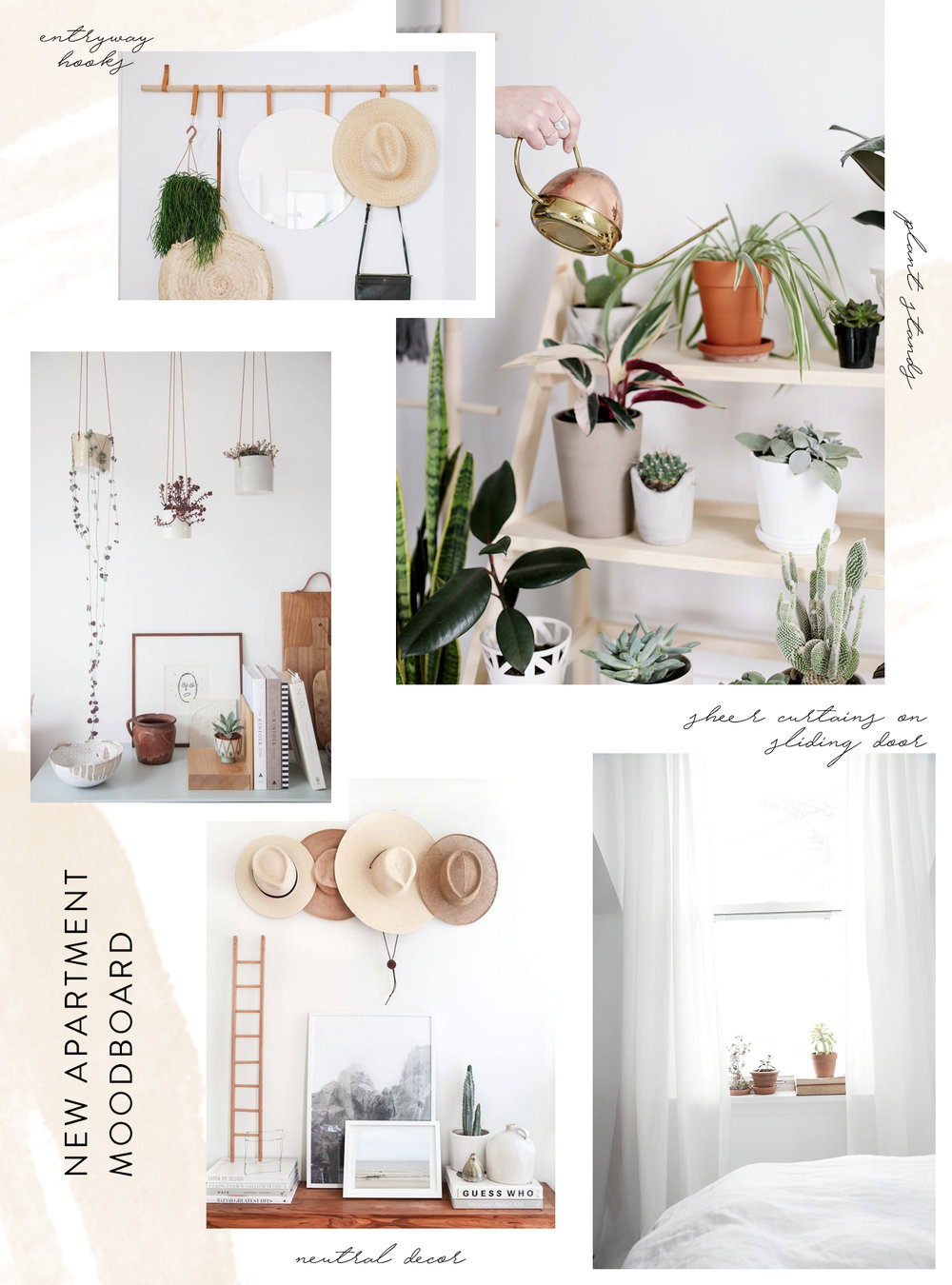 boho, neutral apartment decor moodboard | Reux Design Co.