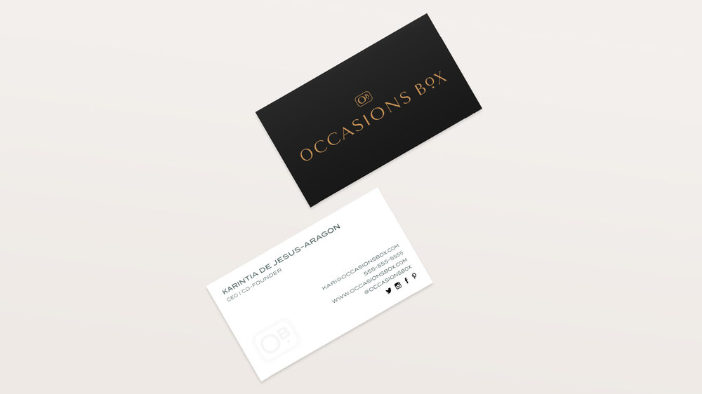 Occasions Box Brand Design: Business Cards | Reux Design Co. | Boutique Branding Studio for Holistic and Conscious Small Businesses