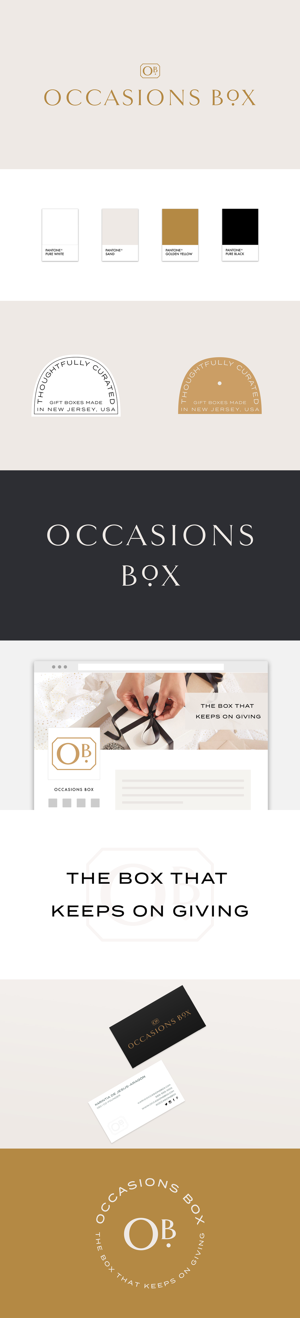 Occasions Box | Brand Identity Design for a Curated, Luxurious, High End Gift Box Service | Designed by Reux Design Co.
