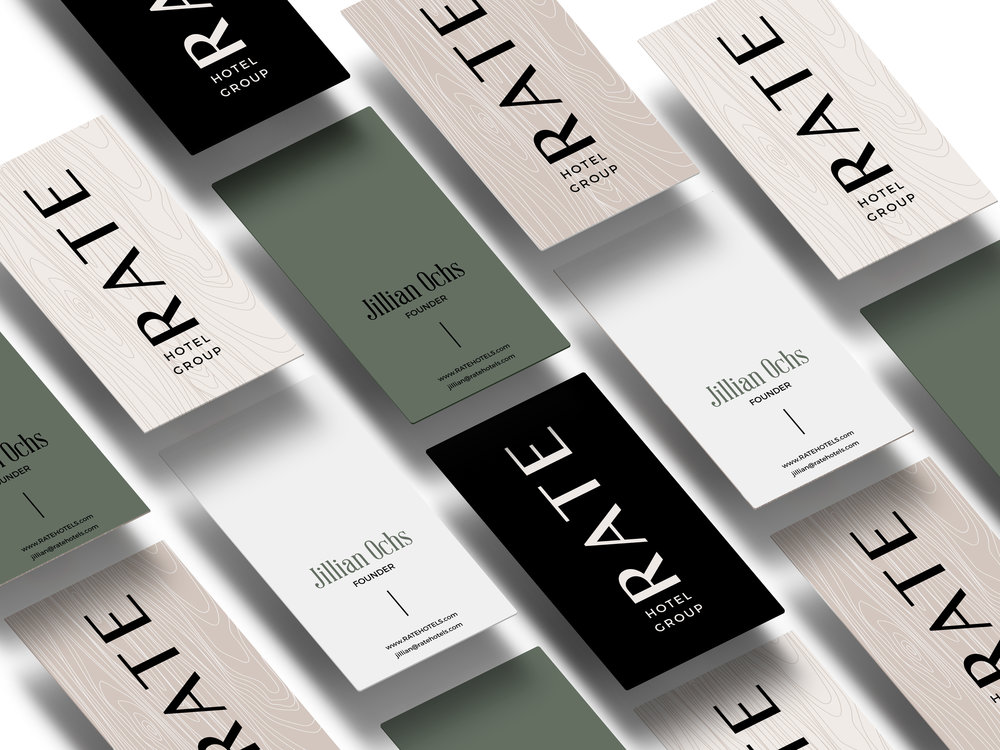 RATE Hotel Group Brand Design: Business Cards | Reux Design Co. | Boutique Branding Studio for Holistic and Conscious Small Businesses