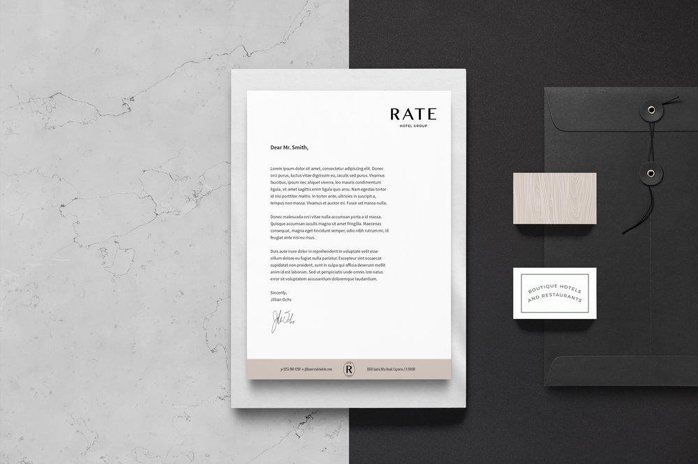 RATE Hotel Group Brand Design: Stationery Design | Reux Design Co. | Boutique Branding Studio for Holistic and Conscious Small Businesses