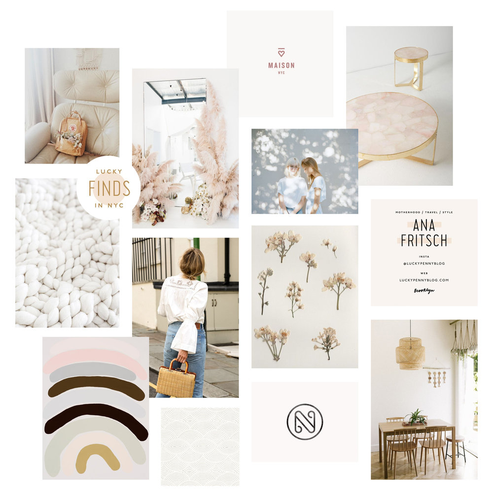 Clean, Modern, Minimal, Feminine moodboard for brand design | Reux Design Co.