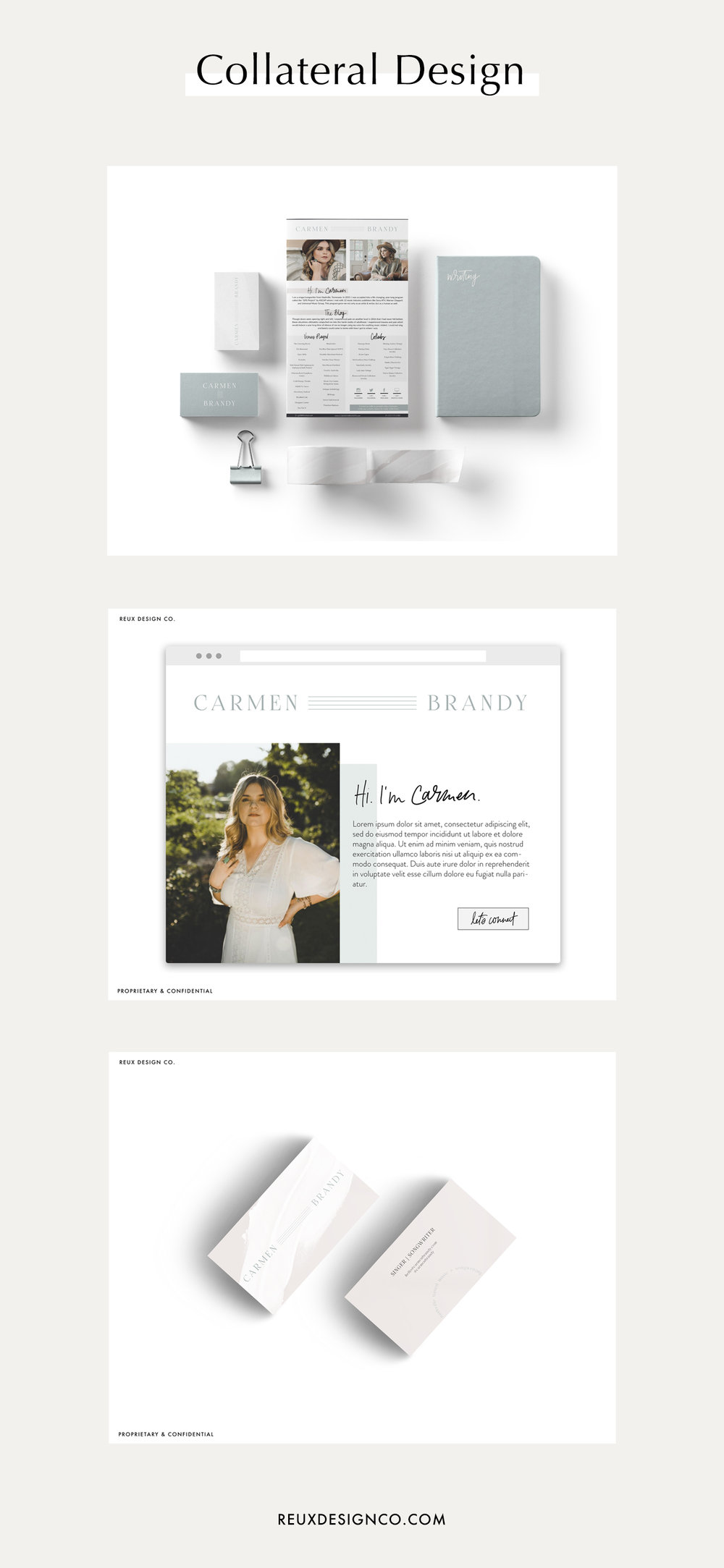 Holistic Brand Design Process at Reux Design Co. - part three: collateral and paper goods design including business cards, stationery, templates, newsletter design and more to create a well rounded brand