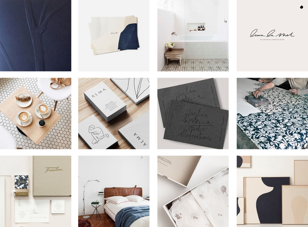 Navy, tan, cream and white moodboard for a modern sustainable brand | Holistic brand design by Reux Design Co.