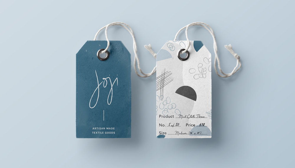 Collateral print design and hang tags with abstract geometric pattern | Holistic brand design by Reux Design Co.