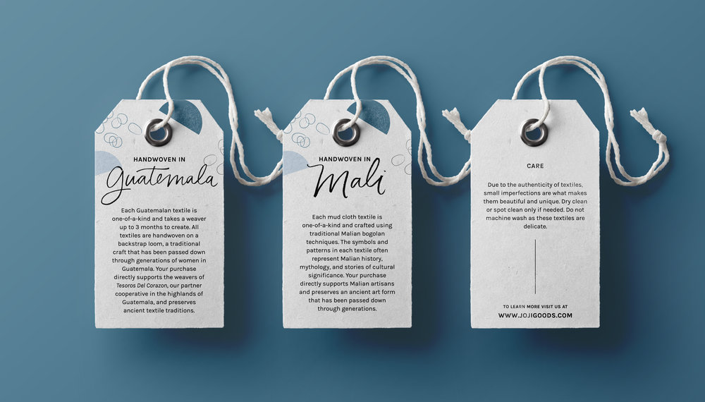 handwoven, handmade goods - collateral print design - hang tag design for modern, ethical company | Holistic brand design by Reux Design Co.