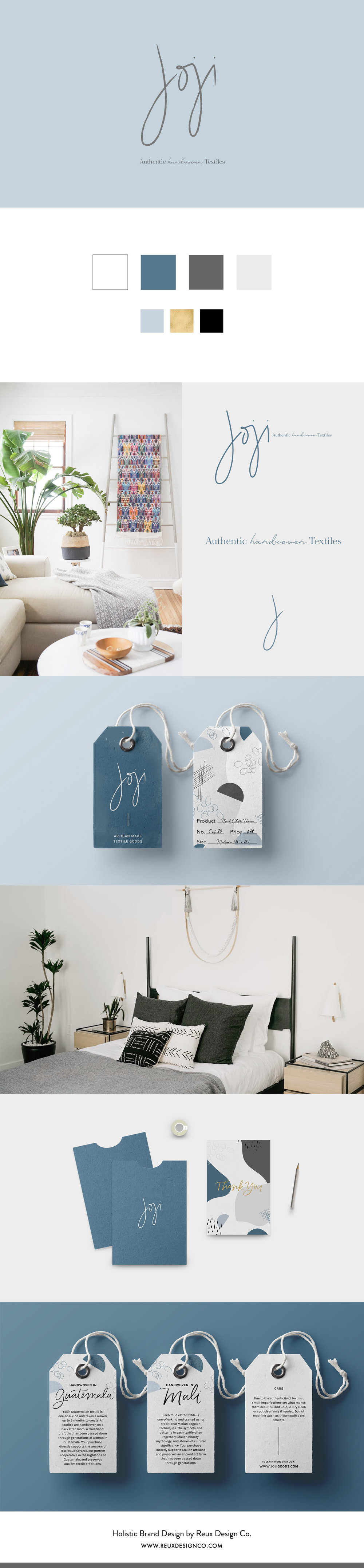 Holistic Brand Design for Joji Goods - an artisan textile company | Branding by Reux Design Co. for sustainable, conscious creatives and businesses | Modern, neutral, blue brand design for home goods company | Reux Design Co.