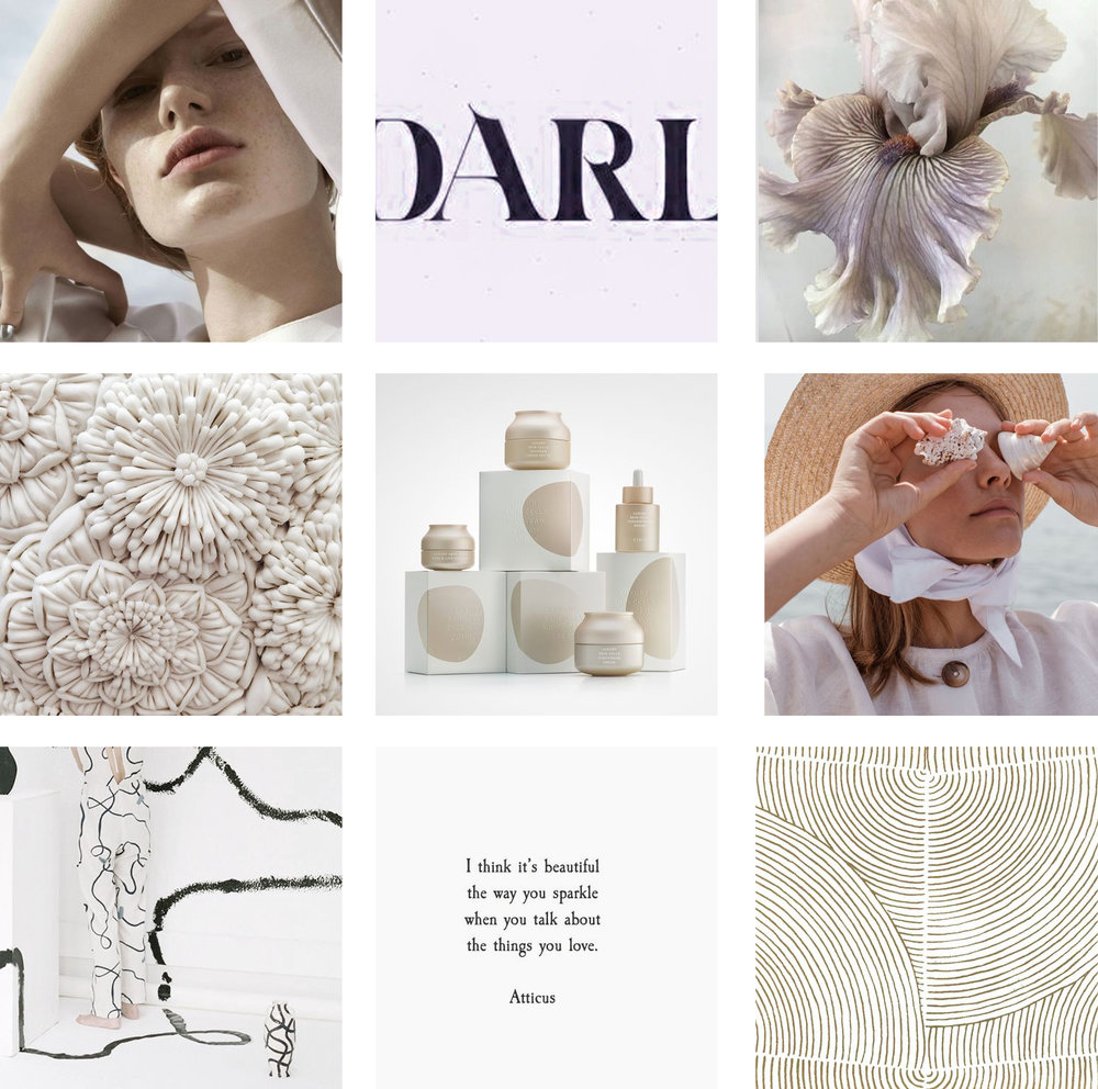 Radian Skincare Company moodboard   bold, modern, clean, minimal inspired moodboard for a natural skincare brand   by Reux Design Co.