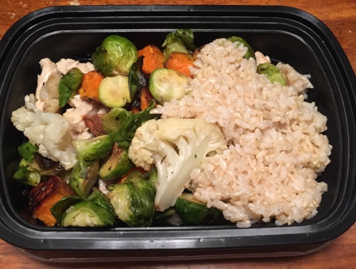 6oz. chicken, 1/2 cup brown rice, 1.5 cups baked vegetables + sriracha = YUM.
