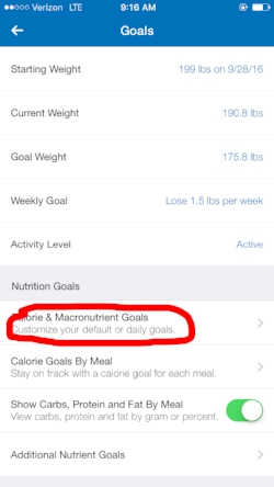 Click on 'Calorie & Macronutrient Goals