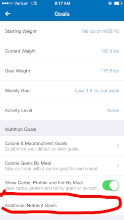 From the 'Goals' screen choose 'Additional Nutrient Goals'