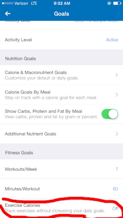 Scroll to the very bottom of the 'Goals' screen and click 'Exercise Calories'