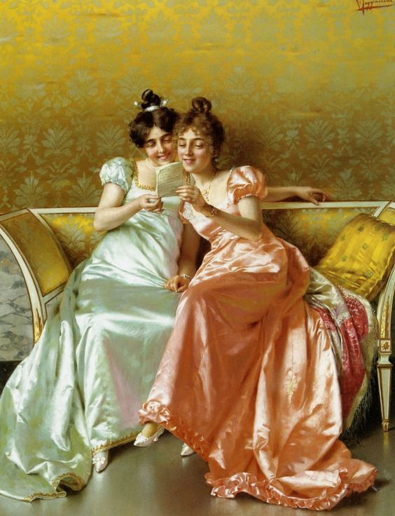 19th century portrait of two women reading a letter on a couch - Vittorio Reggianini -.jpg