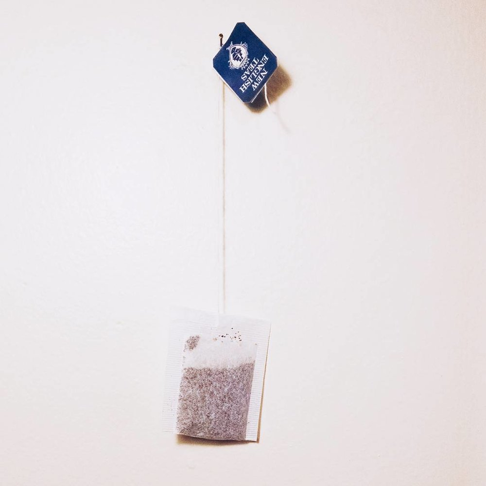 """The Persistence of Memory"", 1x1, tea bag on nail, 2015"
