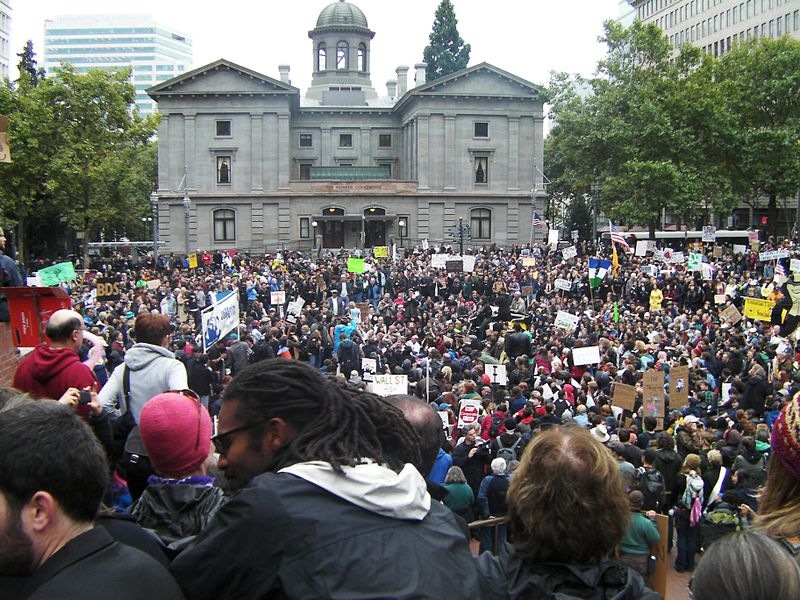 Occupy Portland at Pioneer Courthouse Square (photo: creative commons, Wikipedia)