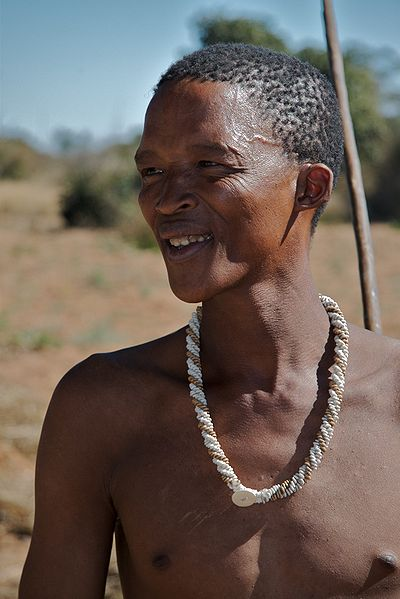 A member of the San tribe, one of the last remaining hunter gatherer groups today (Wikipedia Creative Commons)