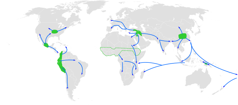 Map showing approximate centers of origin and spread of agriculture globally (In different time periods. Original here.)