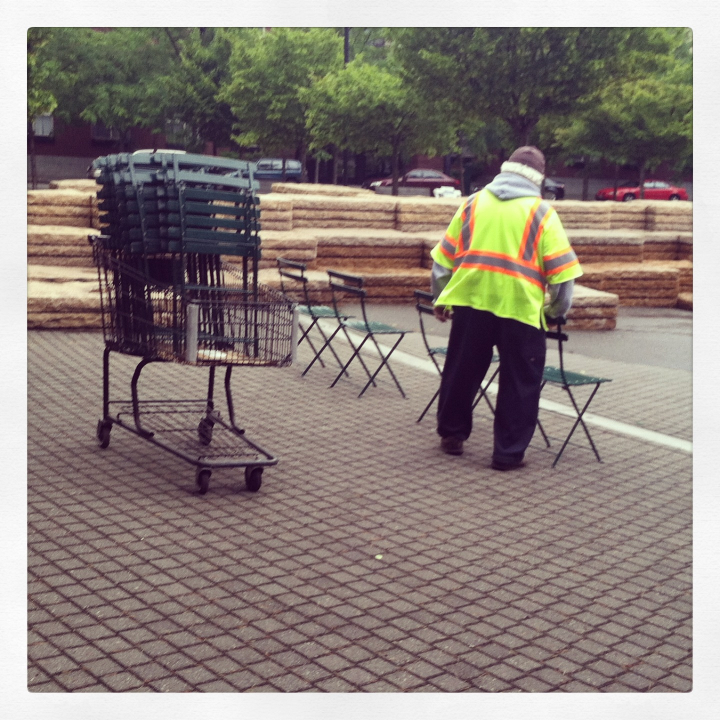 The chair master of Jamison Square in Portland, Oregon (Photo by author)