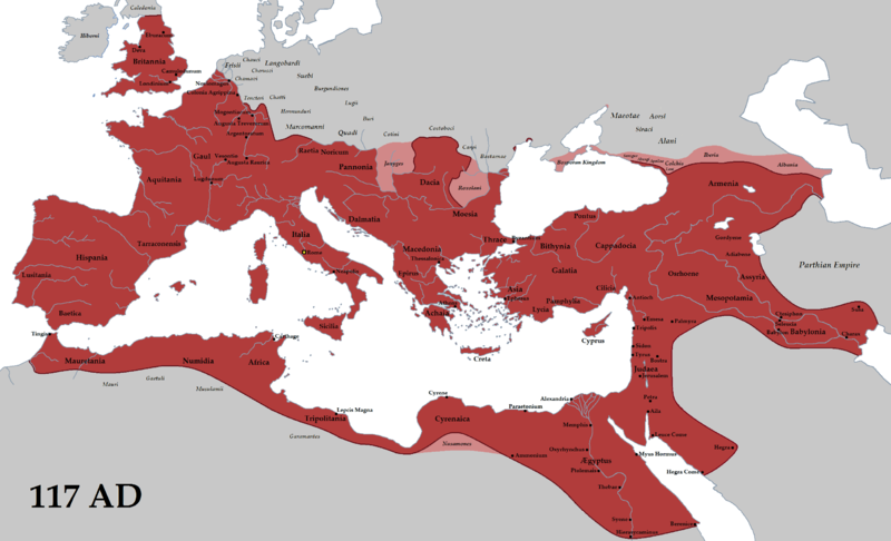 The extent of the Roman Empire in 117 AD (Wikipedia Creative Commons)
