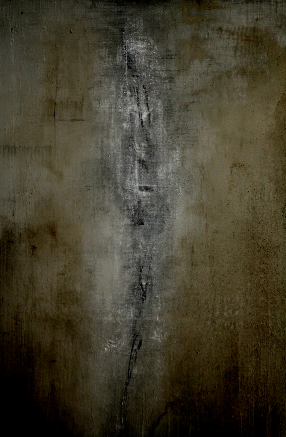 What Has Been Left Unhealed, 48 in. x 72 in., acrylic, enamel, gravel and graphite, 2011