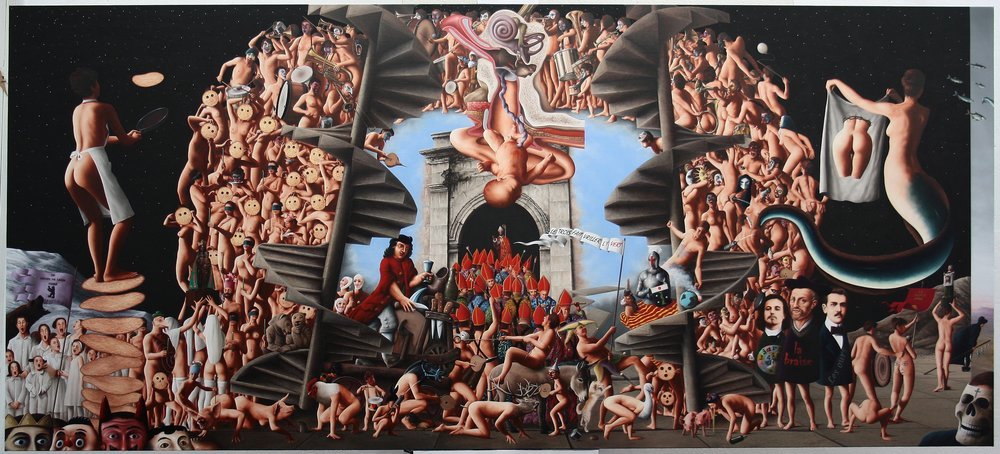 "LE GRASDIMAR DE BLAISE RA THE CARNIVAL OF ST. BLAISE / RABELAIS (Blaise Ra = Ra Blaise = Rabelais) oil on canvas     (51.2"" x 114.2"")"