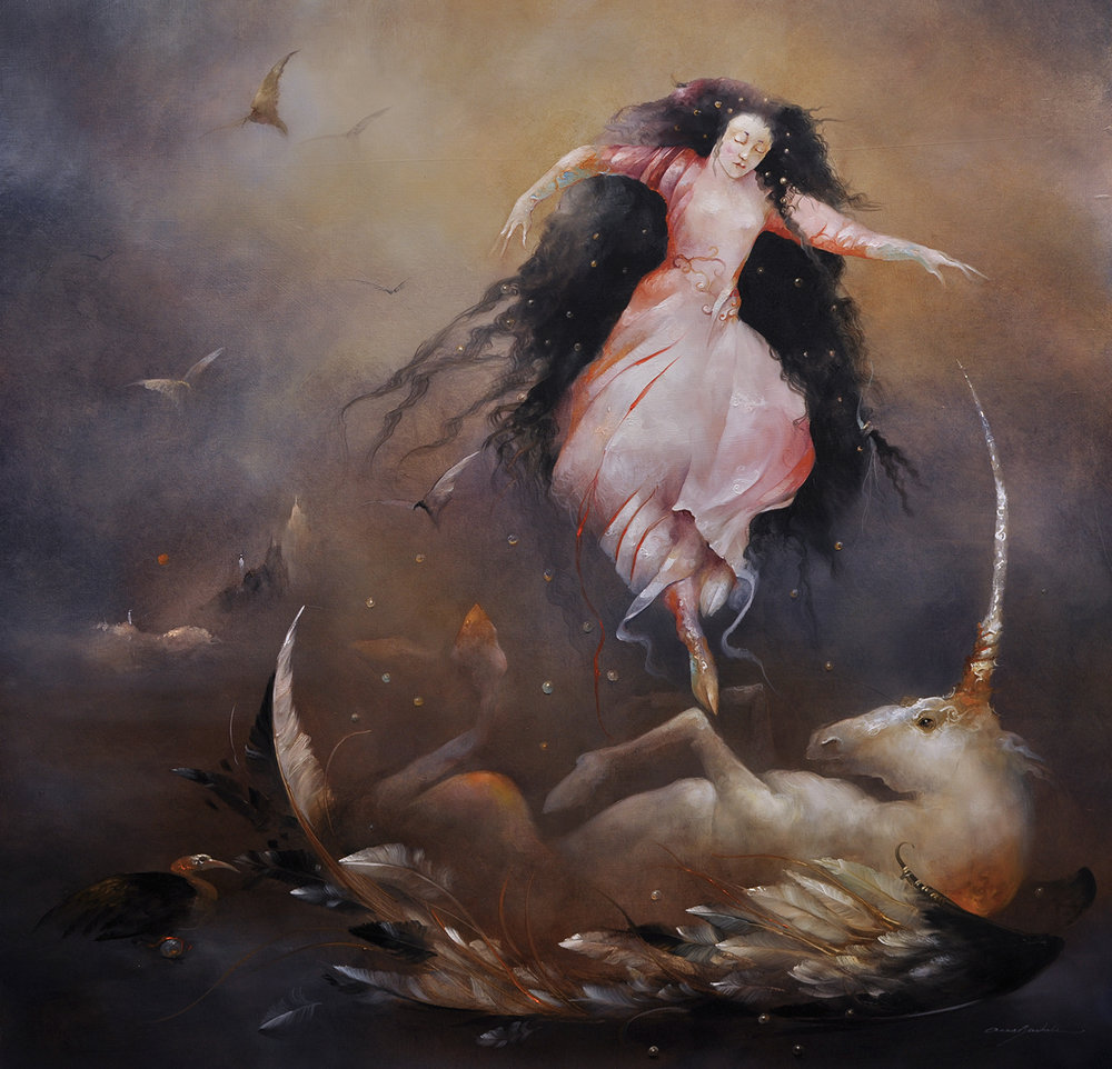 "Approcher la Licorne - Approach the Licorne 40""x 40"" Oil on linen"