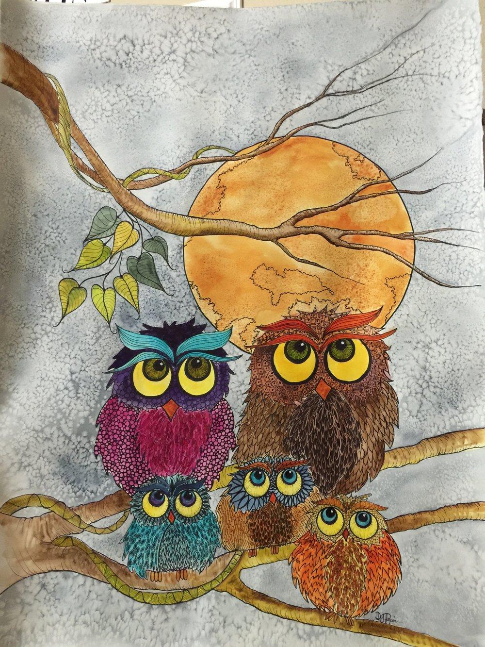 Owl Family  Doodle Art  24 x 36 Framed  $ 595.00
