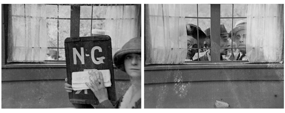 """Where Are Your Husbands?""  From the personal effects of Billy B. Van. This two foot long outtake from a professional film production shows an actress holding a camera slate noting, likely, that the previously scene was ""no good."" The next scene shows men in hats shot through a window. Actors unknown.  35mm Kodak negative nitrate motion picture film manufactured in 1919.   Courtesy of the Newport Historical Society. Used with permission."