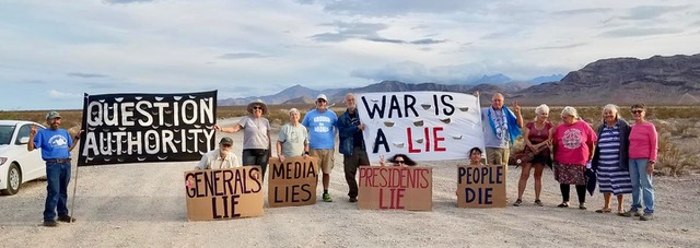 Fall 2018 Shut Down Creech protesters on a road near Creech AFB, Nevada.