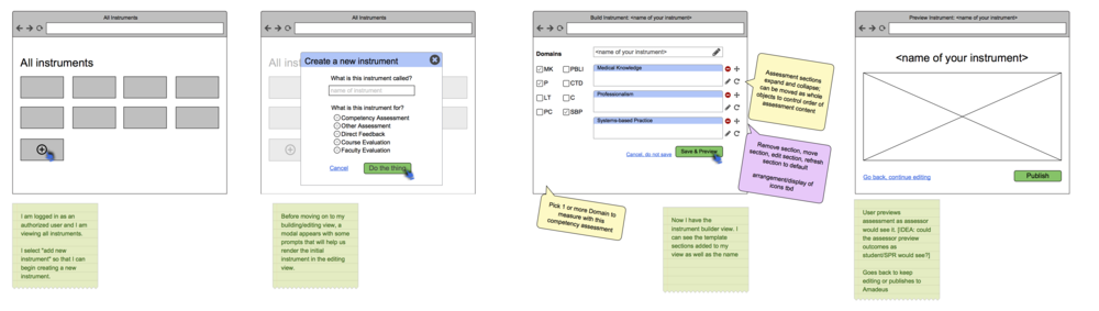 "This later concept cuts down on abstraction by depicting a dynamic instrument editor (screen 3). A user still marks check boxes to include desired content, but instead of a transactional ""submit"" action, the application would refresh to reflect the user's selections from the left. Likewise, topics could be rearranged and contents could be edited at will."