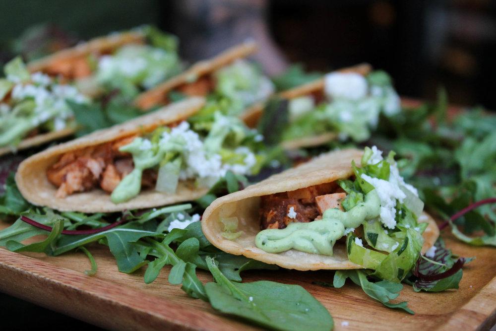Mexican chicken salad in taco form