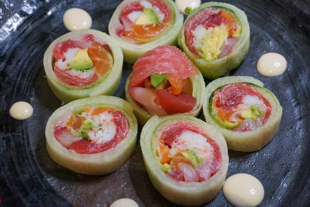 These gluten free rolls are wrapped in cucumber!