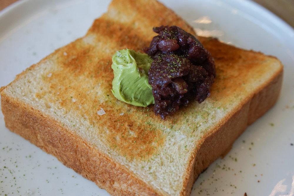 Shokupan toast with matcha butter & anko jam