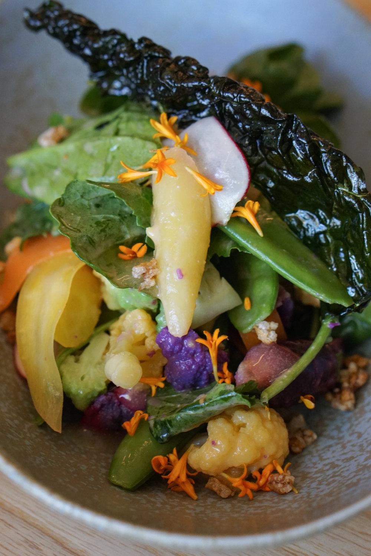 Barley salad with spring veggies, yuzu & miso vinaigrette