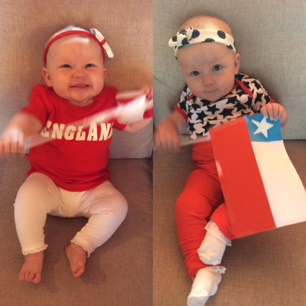 Sienna supporting both of her countries in the  World Cup 2014 . Just a little bit more excited about the England game!!