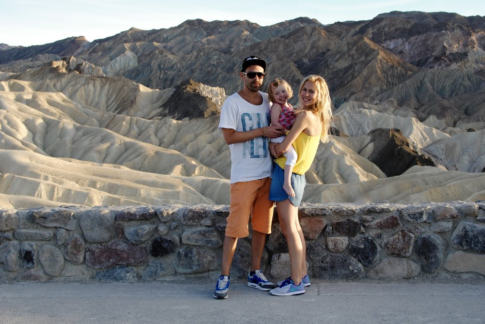 Sunset in Death Valley, Nevada. Sienna was having a terrible time!